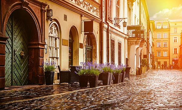 Vacker gata i Krakow
