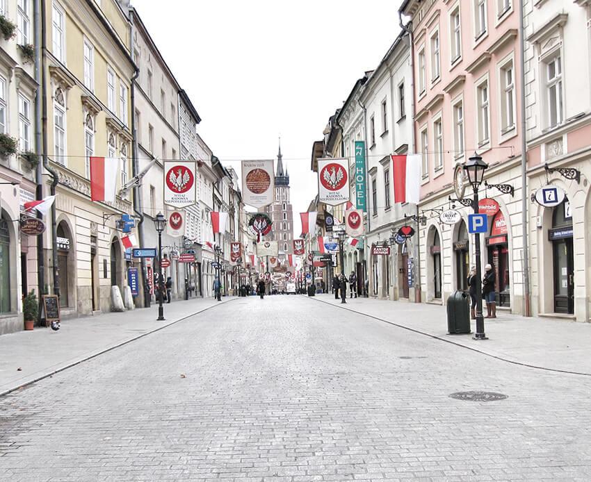 Gata i gamla stan i Krakow
